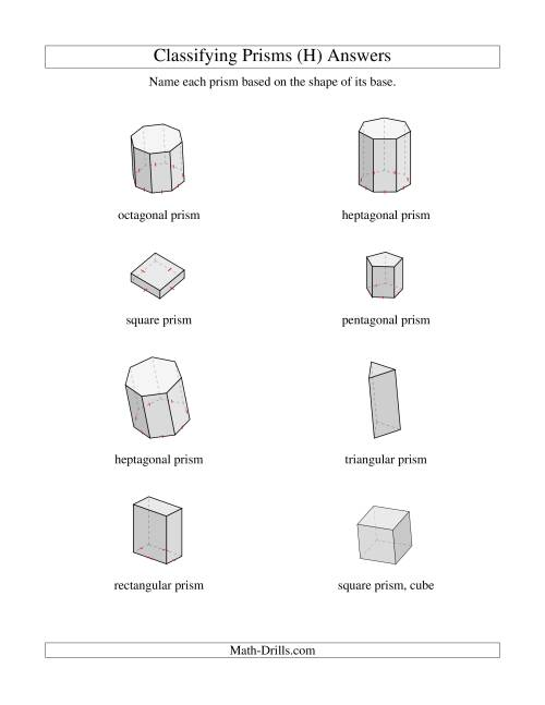 The Classifying Prisms (H) Math Worksheet Page 2
