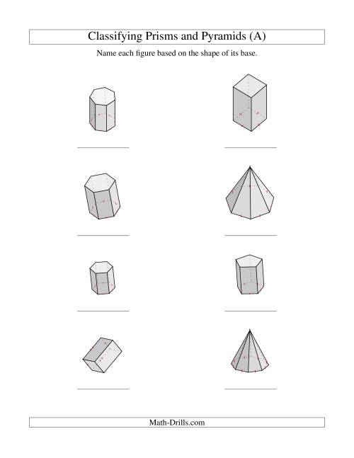 The Classifying Prisms and Pyramids (A) Math Worksheet