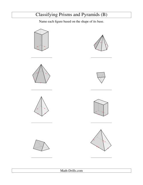 The Classifying Prisms and Pyramids (B) Math Worksheet