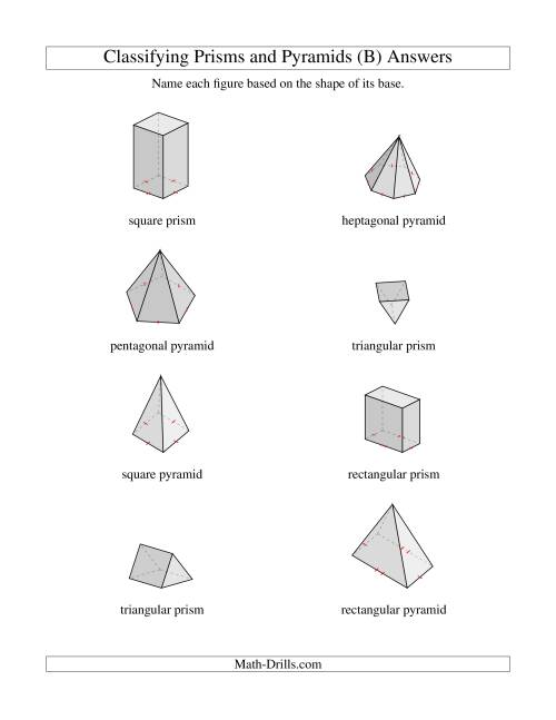 The Classifying Prisms and Pyramids (B) Math Worksheet Page 2
