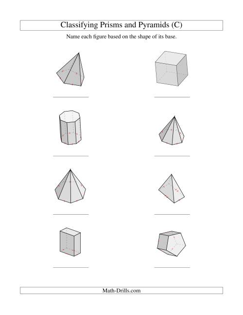The Classifying Prisms and Pyramids (C) Math Worksheet