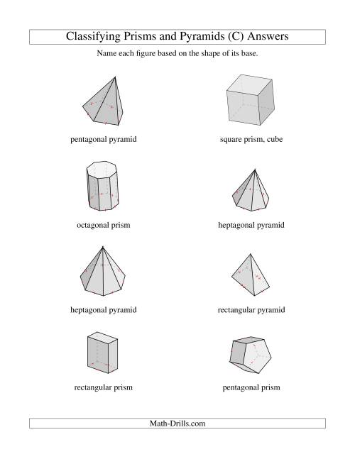 The Classifying Prisms and Pyramids (C) Math Worksheet Page 2