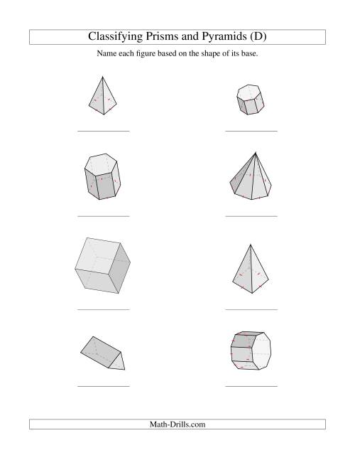 The Classifying Prisms and Pyramids (D) Math Worksheet