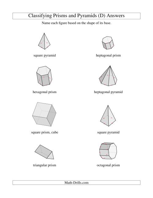 The Classifying Prisms and Pyramids (D) Math Worksheet Page 2