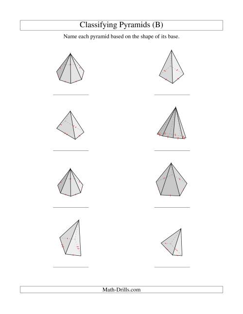 The Classifying Pyramids (B) Math Worksheet