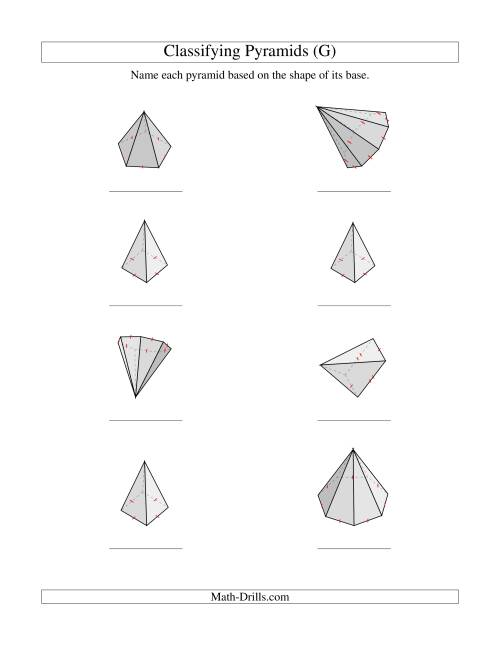 The Classifying Pyramids (G) Math Worksheet