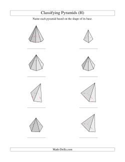 classifying pyramids h geometry worksheet. Black Bedroom Furniture Sets. Home Design Ideas
