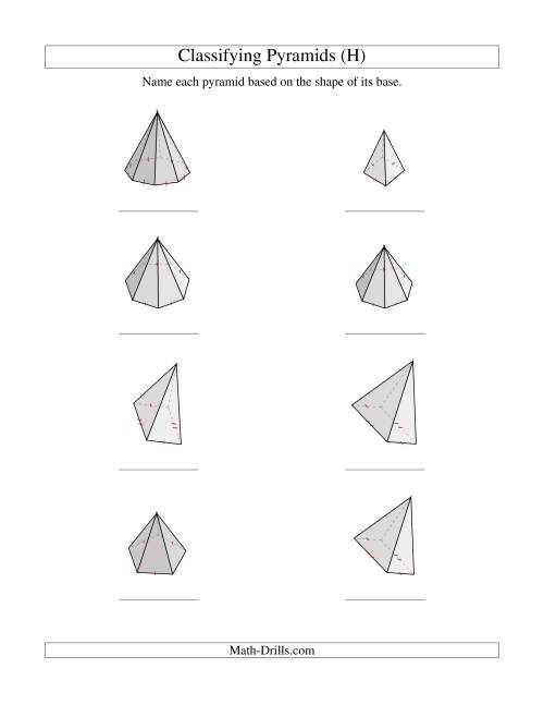 The Classifying Pyramids (H) Math Worksheet
