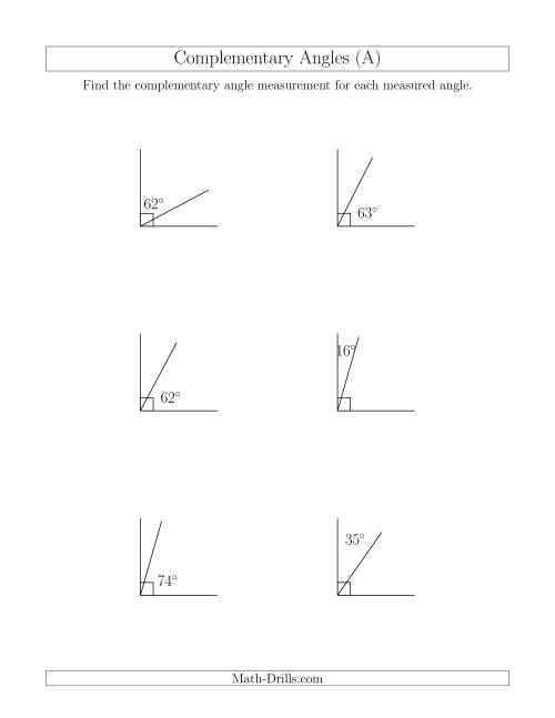 The Complementary Angle Relationships (A) Math Worksheet