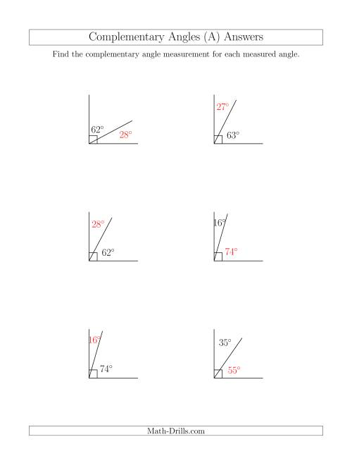 The Complementary Angle Relationships (A) Math Worksheet Page 2