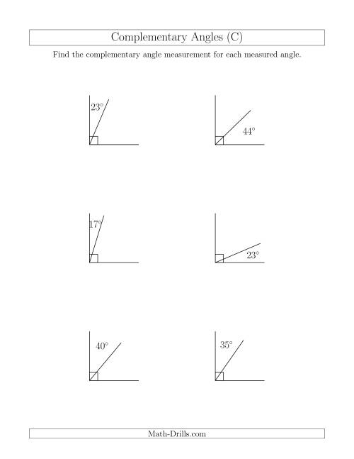 Complementary Angle Relationships (C) Geometry Worksheet