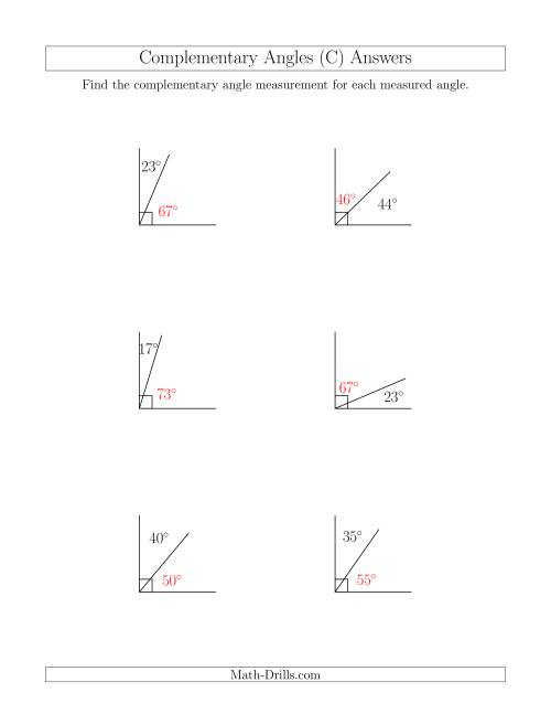 The Complementary Angle Relationships (C) Math Worksheet Page 2