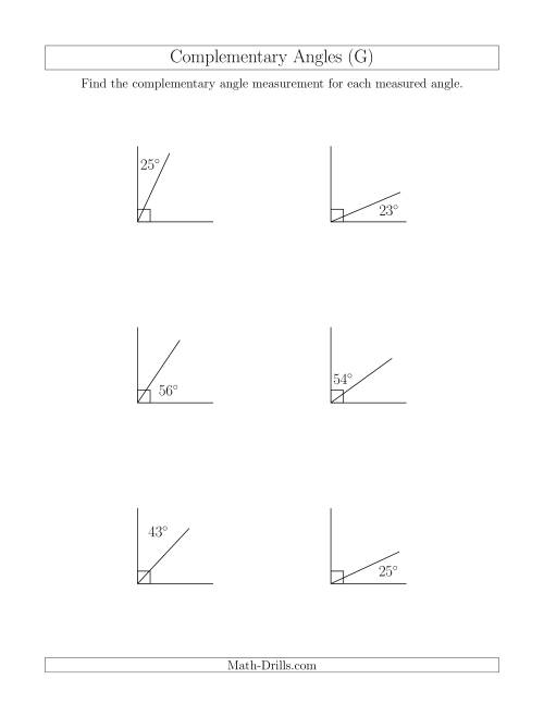 The Complementary Angle Relationships (G) Math Worksheet