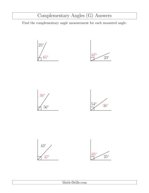 The Complementary Angle Relationships (G) Math Worksheet Page 2