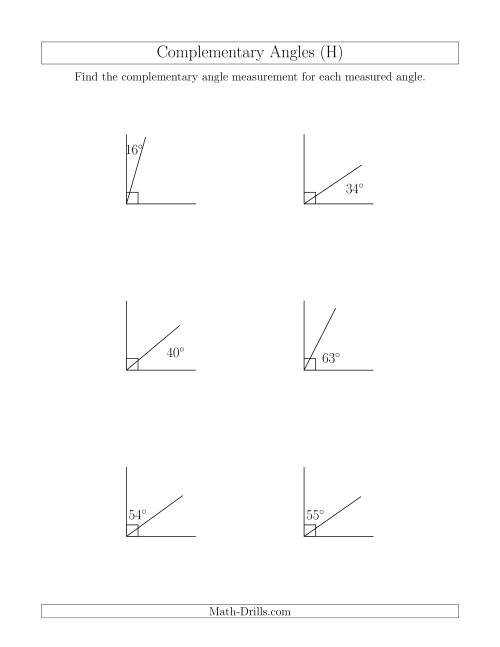 The Complementary Angle Relationships (H) Math Worksheet