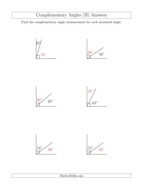 The Complementary Angle Relationships (H) Math Worksheet Page 2