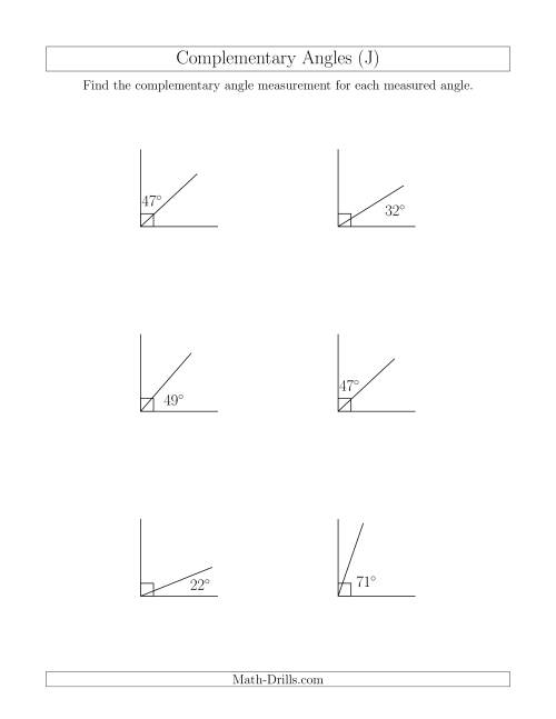 The Complementary Angle Relationships (J) Math Worksheet