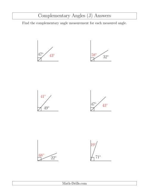 The Complementary Angle Relationships (J) Math Worksheet Page 2