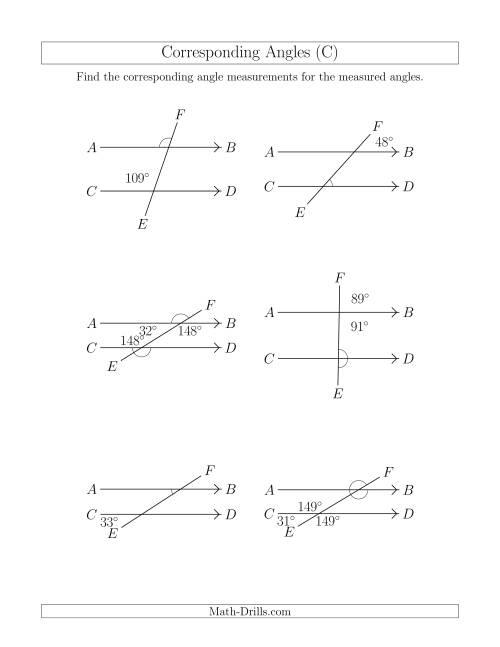 Corresponding Angles Worksheet The Corresponding Angle