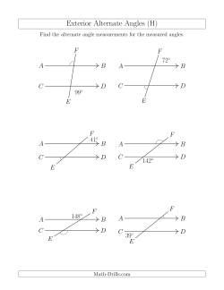 Exterior Alternate Angle Relationships H Geometry Worksheet