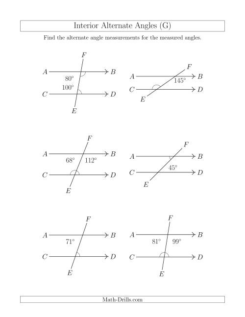 The Interior Alternate Angle Relationships (G) Math Worksheet