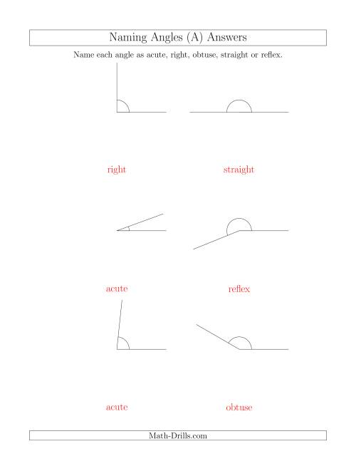Naming Angles (Acute, Obtuse, Right, Straight, Reflex) (A)