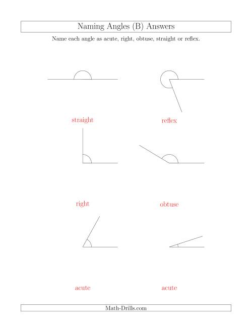 The Naming Angles (Acute, Obtuse, Right, Straight, Reflex) (B) Math Worksheet Page 2