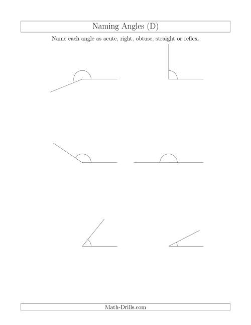 The Naming Angles (Acute, Obtuse, Right, Straight, Reflex) (D) Math Worksheet