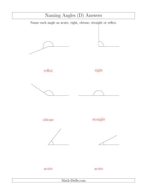 The Naming Angles (Acute, Obtuse, Right, Straight, Reflex) (D) Math Worksheet Page 2
