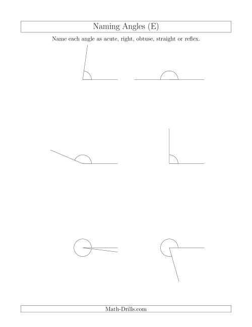 The Naming Angles (Acute, Obtuse, Right, Straight, Reflex) (E) Math Worksheet