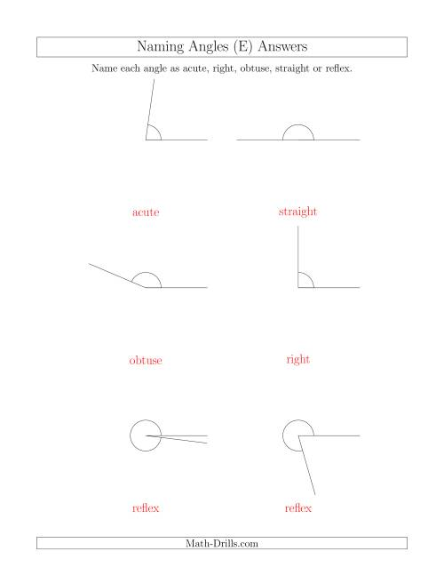 The Naming Angles (Acute, Obtuse, Right, Straight, Reflex) (E) Math Worksheet Page 2