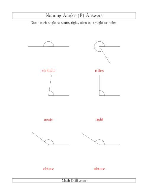 The Naming Angles (Acute, Obtuse, Right, Straight, Reflex) (F) Math Worksheet Page 2