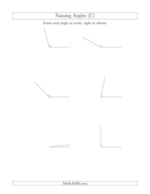 The Naming Simple Angles (Acute, Obtuse, Right) (C) Math Worksheet