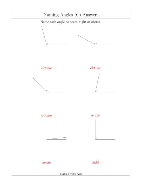 The Naming Simple Angles (Acute, Obtuse, Right) (C) Math Worksheet Page 2
