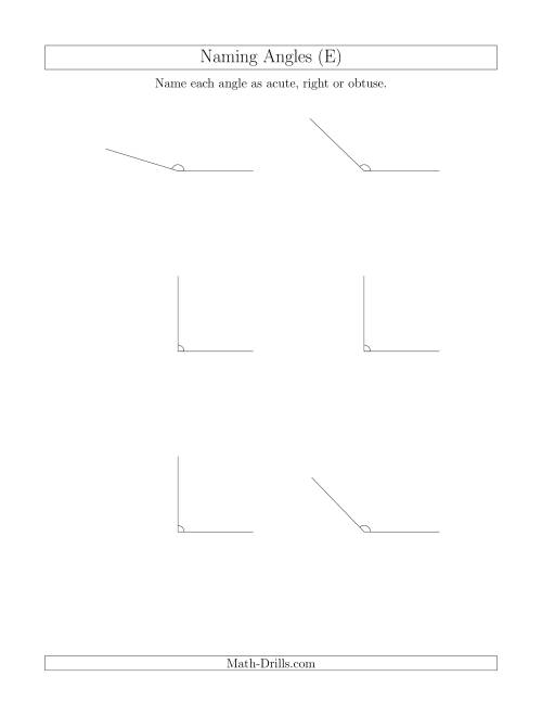The Naming Simple Angles (Acute, Obtuse, Right) (E) Math Worksheet