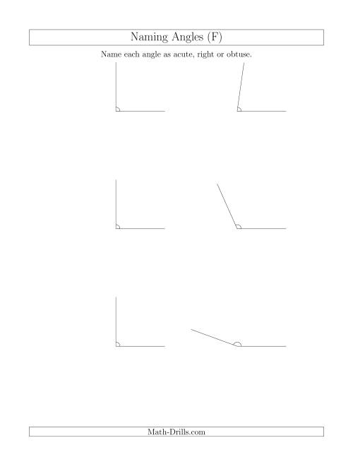 The Naming Simple Angles (Acute, Obtuse, Right) (F) Math Worksheet
