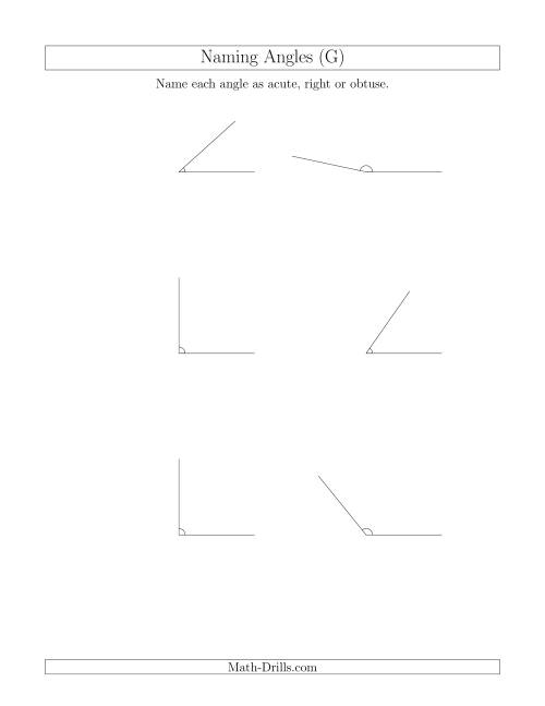 The Naming Simple Angles (Acute, Obtuse, Right) (G) Math Worksheet