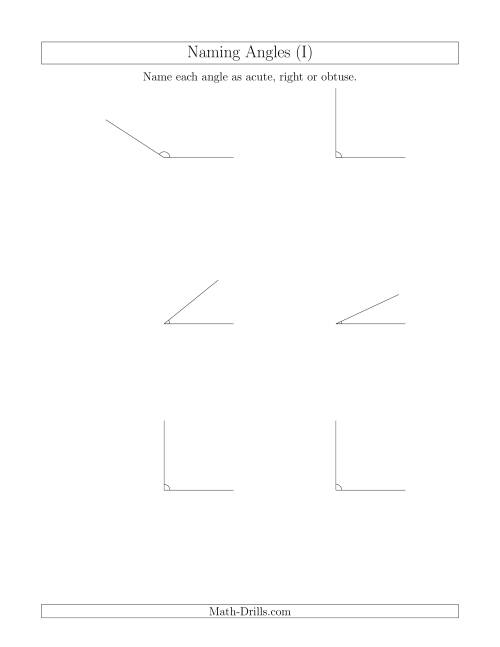 The Naming Simple Angles (Acute, Obtuse, Right) (I) Math Worksheet