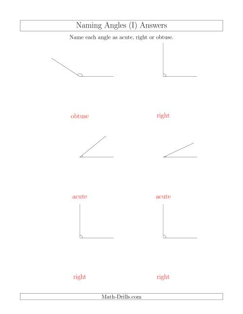 The Naming Simple Angles (Acute, Obtuse, Right) (I) Math Worksheet Page 2