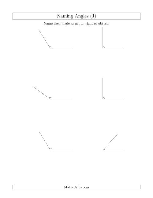 The Naming Simple Angles (Acute, Obtuse, Right) (J) Math Worksheet