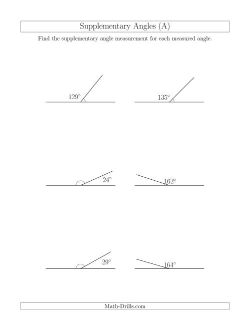 The Supplementary Angle Relationships (A) Math Worksheet
