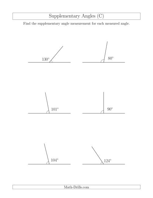 The Supplementary Angle Relationships (C) Math Worksheet