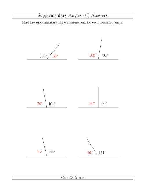 The Supplementary Angle Relationships (C) Math Worksheet Page 2