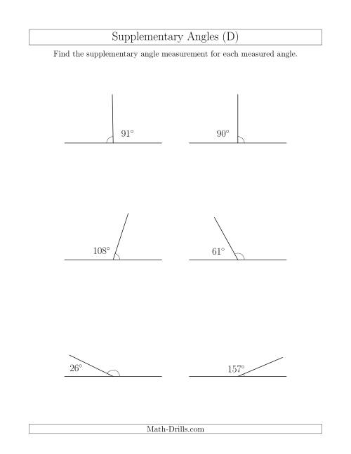 The Supplementary Angle Relationships (D) Math Worksheet