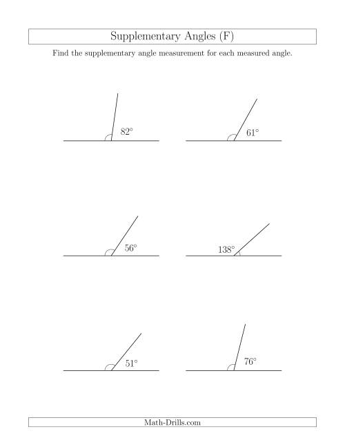 The Supplementary Angle Relationships (F) Math Worksheet