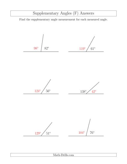 The Supplementary Angle Relationships (F) Math Worksheet Page 2