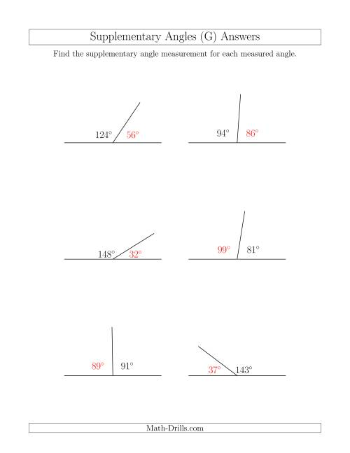 The Supplementary Angle Relationships (G) Math Worksheet Page 2