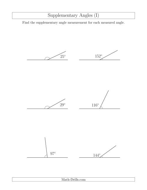 The Supplementary Angle Relationships (I) Math Worksheet