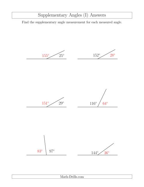 The Supplementary Angle Relationships (I) Math Worksheet Page 2