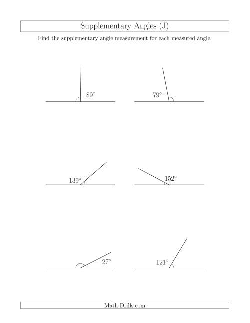 The Supplementary Angle Relationships (J) Math Worksheet